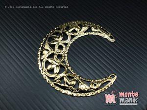 3 Pcs Ornamen Plat Bulan Sabit Emas 5,5 cm (OLT-038)