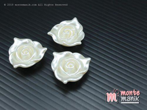 12 Pcs Bunga akrilik Mawar Lancip Putih mutiara 2 cm (MPA-029)