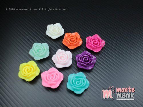 12 Pcs Manik Plastik Bunga Mawar Dove 2 cm (MPA-066)