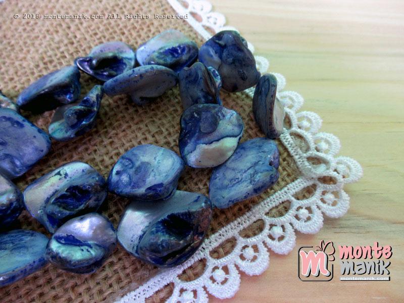 12 Pcs manik kerang nugget Biru tua (MNKG-013)