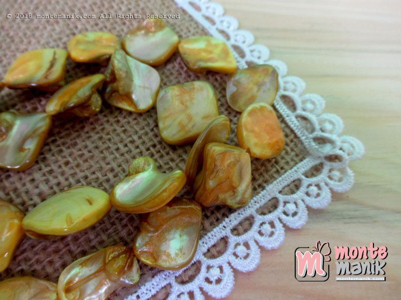 12 Pcs manik kerang nugget Kuning (MNKG-010)