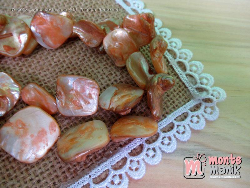 12 Pcs manik kerang nugget Orange (MNKG-011)