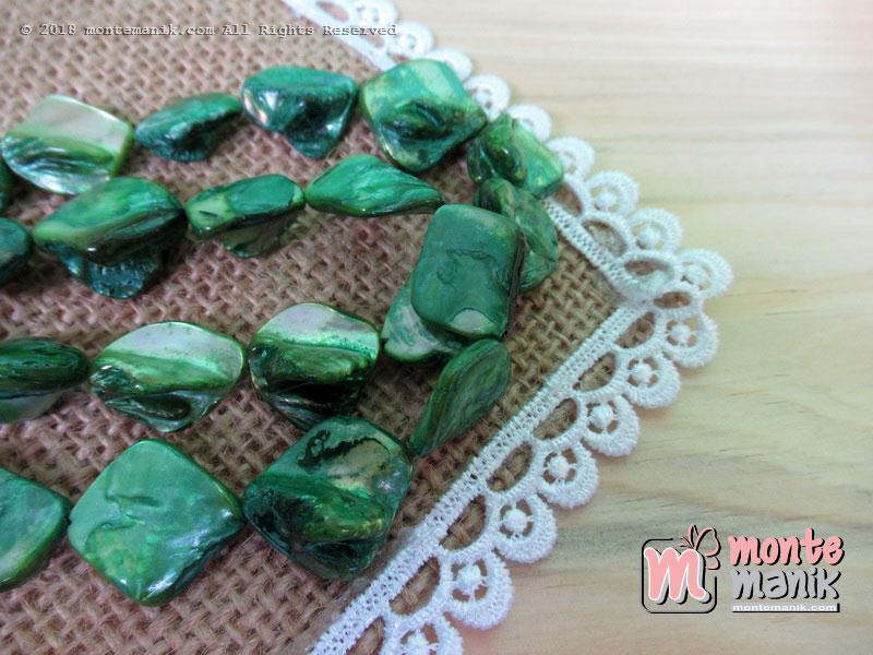 12 Pcs manik kerang nugget hijau (MNKG-09)