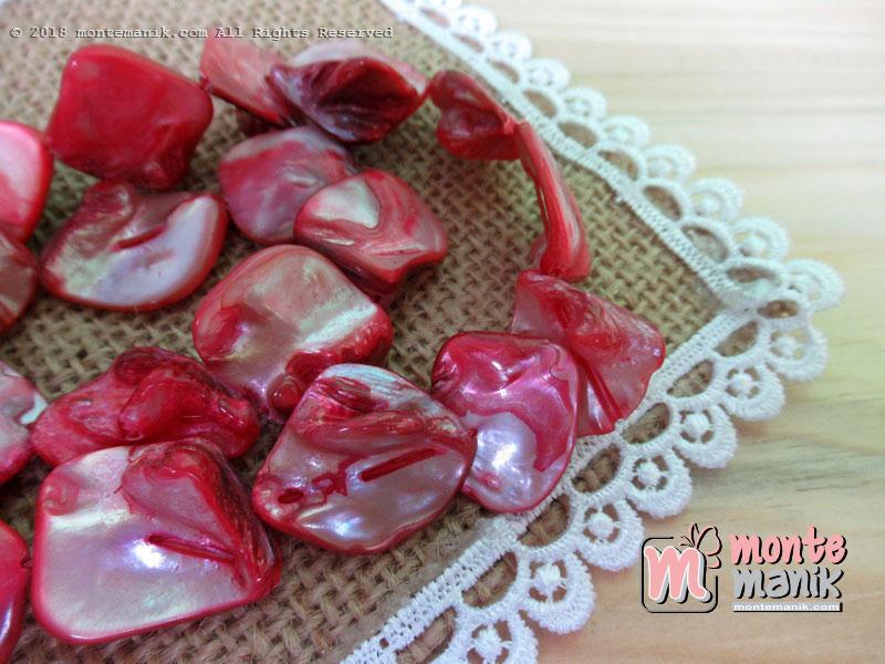 12 Pcs manik kerang nugget merah (MNKG-08)