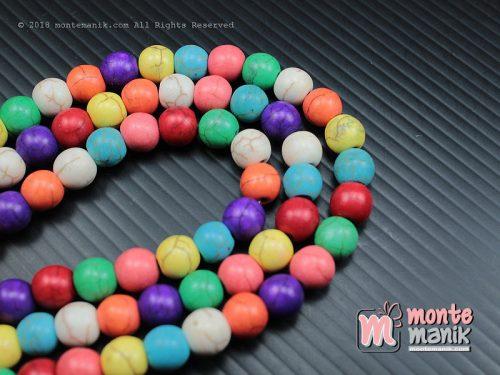 24 Pcs Manik Batu Phyrus 8 mm Campur warna (BTA-07)
