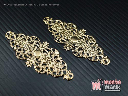 3 Pcs Ornamen Lempengan Sulur Bunga Emas 2,3 x 6 cm (OLT-046)