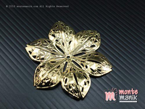 3 Pcs Ornamen Lempengan Tipis Bunga Emas 5,5 cm (OLT-012)