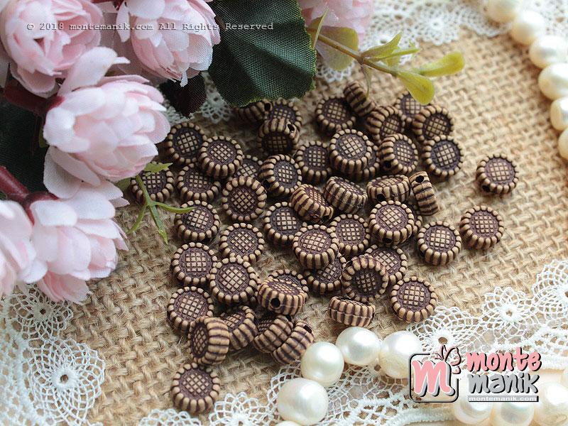 40 Pcs manik plastik bunga 10 mm Coklat (MPA-078)