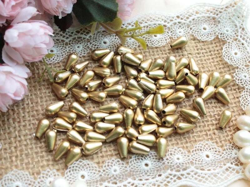 50 Pcs manik plastik tetes 6 mm coklat emas (MPA-077)