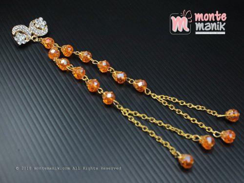 Bros Dagu Kristal Ceko Panjang Orange (PDL-0105)