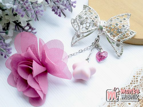 Frill Flowers Brooch dusty pink and swarovsky (PDL-097)