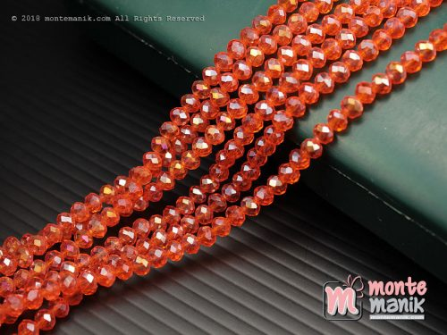 1 String Kristal Ceko Rondelle Orange 4 mm (KRISTAL-080)