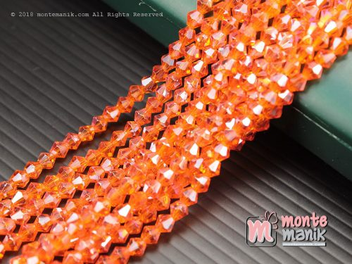 1 String Manik Kristal Ceko Bicone 4 mm Orange (KRISTAL-069)