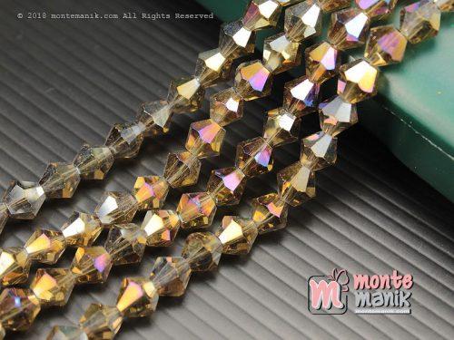 1 String Manik Kristal Ceko Bicone 8 mm Coklat (KRISTAL-072)