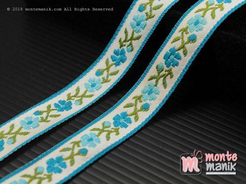 1 Yards Pita Jacquard Motif Sulur Bunga Biru tosca 1,4 cm (PITA-242)