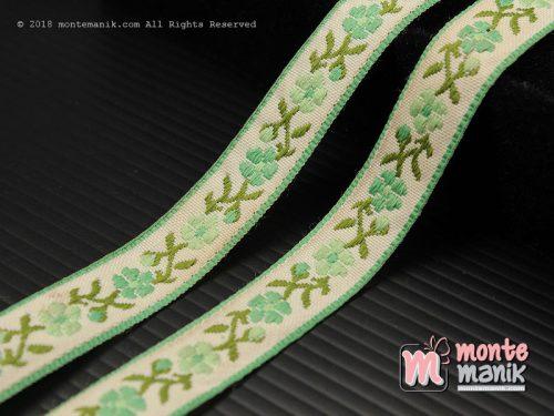 1 Yards Pita Jacquard Motif Sulur Bunga Hijau Muda 1,4 cm (PITA-243)