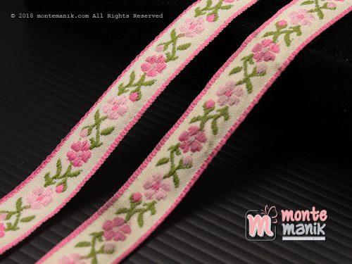 1 Yards Pita Jacquard Motif Sulur Bunga Pink 1,4 cm (PITA-240)