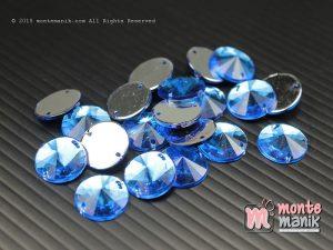 10 Pcs Rhinestone Rivoli Sew on 12 mm Capri blue (DMD-060)
