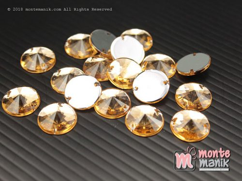 10 Pcs Rhinestone Rivoli Sew on 12 mm Coklat (DMD-059)