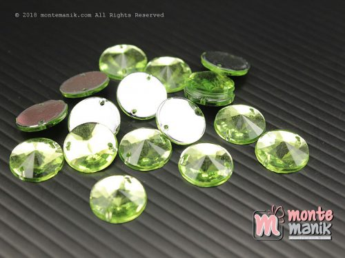 10 Pcs Rhinestone Rivoli Sew on 12 mm Hijau (DMD-057)