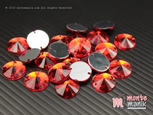 10 Pcs Rhinestone Rivoli Sew on 12 mm Merah (DMD-058)