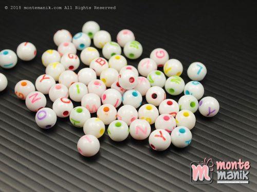 100 Pcs Manik Plastik Huruf Bulat 8 mm (MPA-0122)