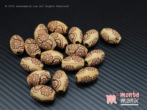12 Pcs Manik Plastik Corak Kayu 15 mm (MPA-0113)