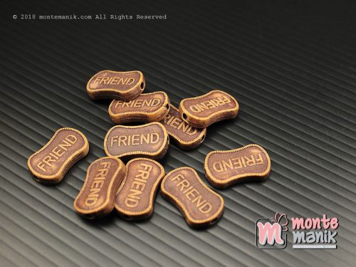 18 Pcs Manik Plastik Corak Kayu Friends 18 x 12 mm (MPA-0152)
