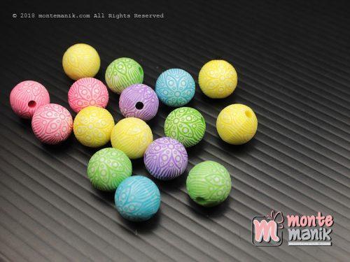 24 Pcs Manik Plastik Bola Batik 10 mm (MPA-0168)