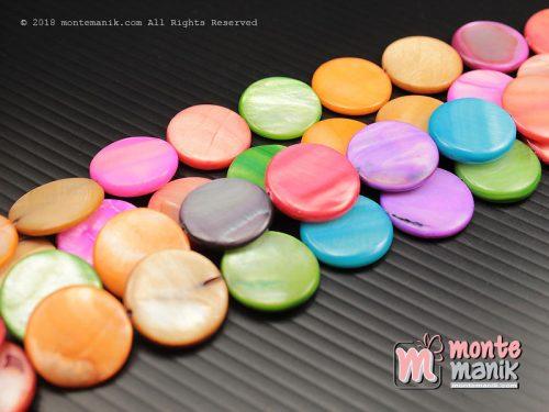5 Pcs Manik Kerang Koin 1,5 cm Campur warna (MNKG-026)