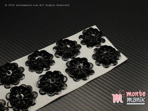10 Pcs Aplikasi Bunga Payet Hitam 2 cm (APA-09)