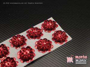 10 Pcs Aplikasi Bunga Payet Merah 2 cm (APA-010)
