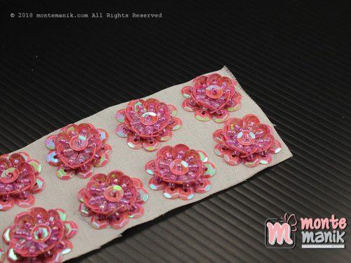 10 Pcs Aplikasi Bunga Payet Pink 2 cm (APA-012)