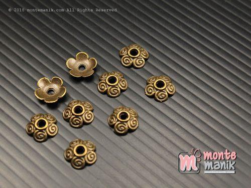 10 Pcs Cangkang Bunga Batik 10 mm Hijau Bakar (CKB-035)