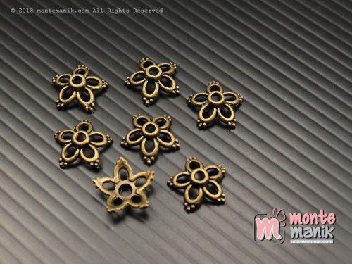 10 Pcs Cangkang Bunga Batik 12 mm Hijau Bakar (CKB-036)