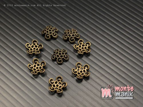 10 Pcs Cangkang Bunga Batik 10 mm Hijau Bakar (CKB-044)