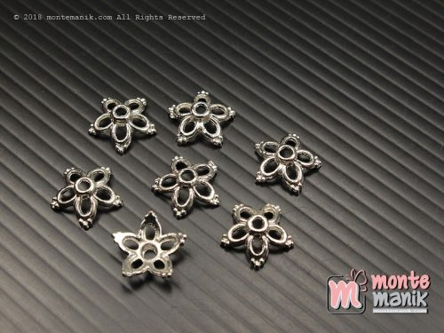 10 Pcs Cangkang Bunga Batik 12 mm Nikel (CKB-037)