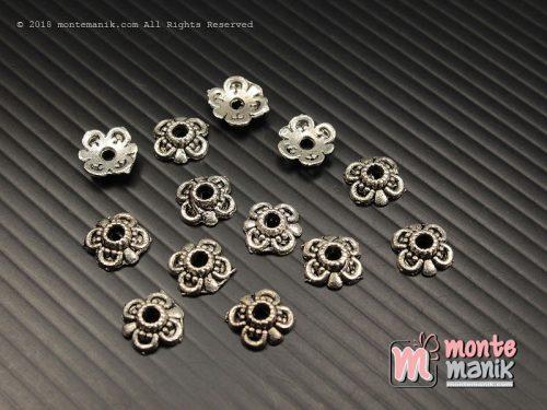 12 Pcs Cangkang Bunga Batik 10 mm Nikel (CKB-038)