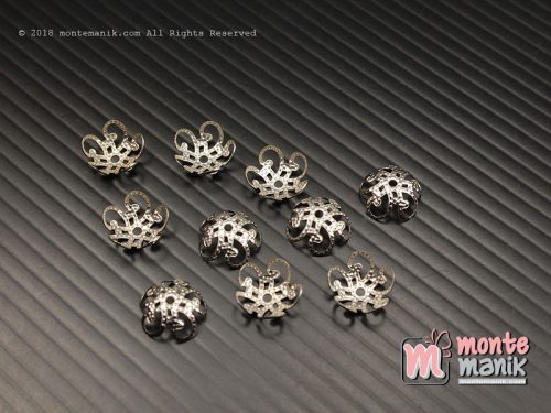 20 Pcs Cangkang Bunga Batik 10 mm Nikel (CKB-039)