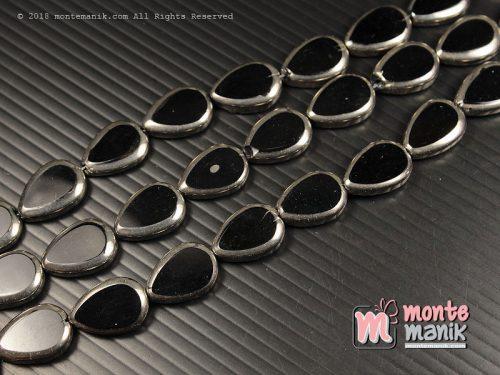 3 Butir Manik Kaca Tetes Silver Hitam 14 mm (MKACA-040)