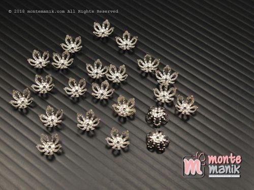 30 Pcs Cangkang Bunga Mahkota Lancip 8 mm Nikel (CKB-033)