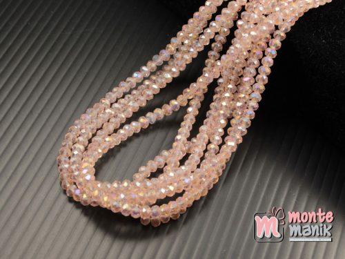 1 Untai Kristal Ceko Rondelle 3 mm Pink (KRISTAL-108)