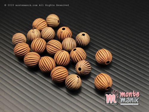 15 Butir Manik Plastik Corak Kayu 10 mm (MPA-0177)