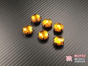 5 pcs Aplikasi Diamond Bundar Kuning tua 12 mm (DMD-070)