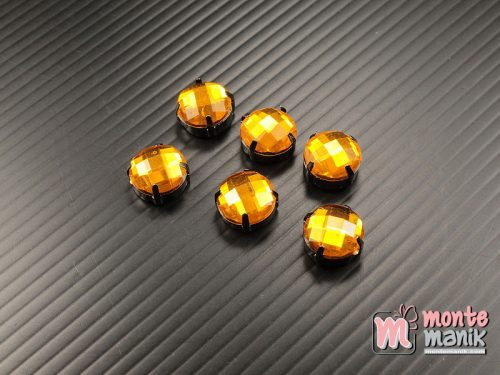 5 pcs Aplikasi Diamond Bundar Kuning tua 12 mm (DMD-070)