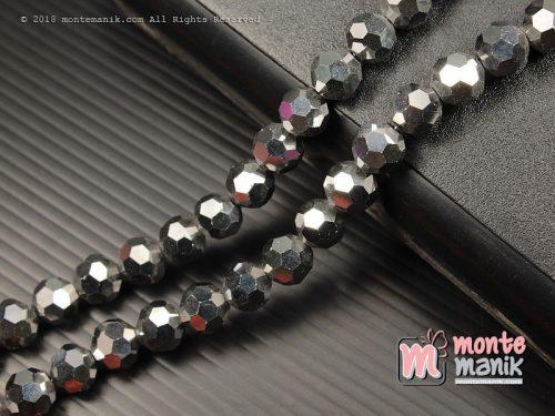 24 Butir Manik Kristal Ceko Hexagon Bundar Silver Metalik 8 mm (KRISTAL-120)