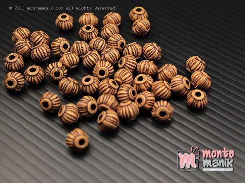 30 Butir Manik Plastik Corak kayu 8 mm (MPA-0181)