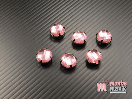 5 pcs Aplikasi Diamond Bundar Pink 12 mm (DMD-071)