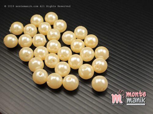 50 Butir Manik Plastik Bulat 8 mm Krem (MPA-0179)