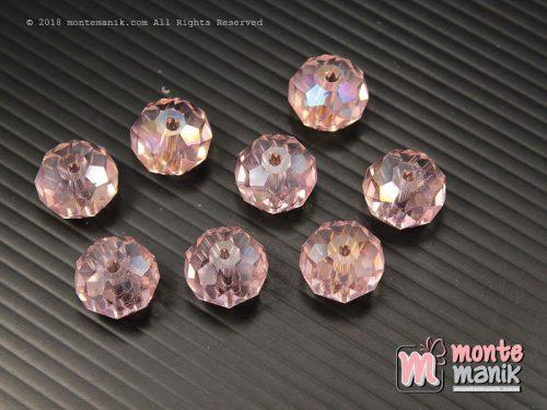 12 Biji Manik Kristal Ceko Donat Pink 14 mm (KRISTAL-123)
